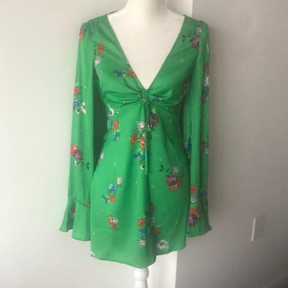 a3e047bb55e0 Free People Green Floral Long Sleeve Dress